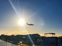 Het botenhuis van Richmond van de zonvlucht BC royalty-vrije stock foto's