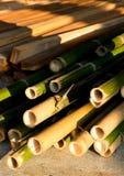 Het bouwmateriaal van het bamboehout Stock Foto's