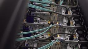 Het bouwt het sluiten de serverdeur Blauwe optische kabel dichte omhooggaand op de achtergrond van het serverrek stock footage