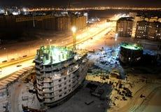 Het bouwterrein van de bouw bij nacht royalty-vrije stock fotografie