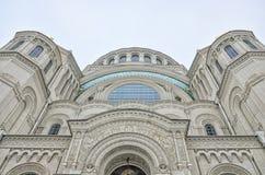 Het bovenste gedeelte van de Zeekathedraal van Sinterklaas in Kronstadt Royalty-vrije Stock Afbeeldingen
