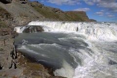 Het bovenste gedeelte van Gullfoss-waterval in IJsland Stock Foto