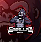 Het boze embleem van de gorillamascotte desain royalty-vrije illustratie