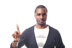 Het boze geklede toevallige Afro-Amerikaanse mens gesturing met vinger Stock Afbeelding
