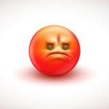 Het boze glimlachen emoticon, emoji - vectorillustratie Royalty-vrije Stock Foto's