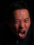 Het boze mens gillen Stock Foto