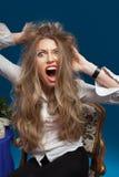 Het boze vrouw gillen Stock Foto