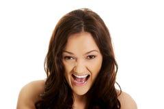 Het boze vrouw schreeuwen Stock Foto's