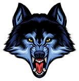 Het boze wolfshoofd toont zijn scherpe tanden vector illustratie