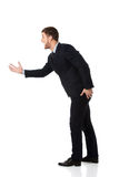Het boze zakenman gillen stock foto