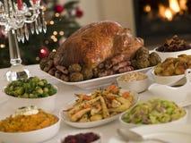 Het Braadstuk Turkije van Kerstmis met alle Garnituur Royalty-vrije Stock Foto's
