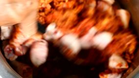 Het braden hakte kip met Spaanse peperdeeg in pan, om Thaise kerrie te maken stock video