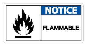 Het brandbare Brandbare Symboolteken isoleert op Witte Achtergrond, Vectorillustratie royalty-vrije illustratie