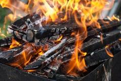 Het brandclose-up kan binnen dag stock afbeeldingen