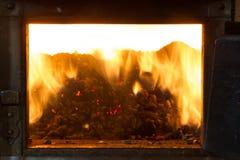 Het branden in de ovenkorrels van pijnboom Stock Afbeeldingen
