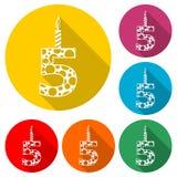 Het branden de verjaardag schouwt nummer 5 pictogram, geplaatste kleurenpictogrammen stock illustratie