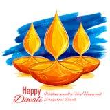 Het branden diya op de Gelukkige Diwali-achtergrond van de Vakantiewaterverf voor licht festival van India Royalty-vrije Stock Foto's