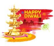 Het branden diya op de Gelukkige Diwali-achtergrond van de Vakantiewaterverf voor licht festival van India Stock Afbeeldingen