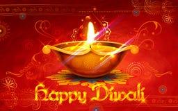 Het branden diya op gelukkige Diwali-Vakantieachtergrond voor licht festival van India Stock Afbeeldingen