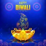 Het branden diya op gelukkige Diwali-Vakantieachtergrond voor licht festival van India Stock Fotografie