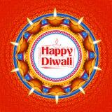 Het branden diya op gelukkige Diwali-Vakantieachtergrond voor licht festival van India Stock Afbeelding