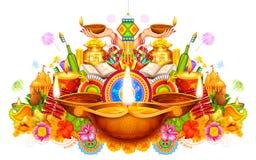 Het branden diya op gelukkige Diwali-Vakantieachtergrond voor licht festival van India Royalty-vrije Stock Afbeeldingen