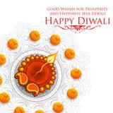 Het branden diya op gelukkige Diwali-Vakantieachtergrond voor licht festival van India Royalty-vrije Stock Afbeelding