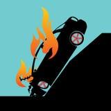 Het branden het vallen onderaan auto Stock Afbeeldingen