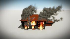 Het branden Huisanimatie royalty-vrije illustratie