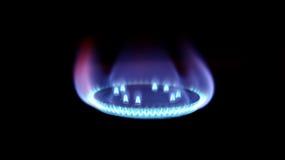 Het branden van aardgas op brander Royalty-vrije Stock Foto's