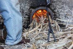 Het branden van afval van suikerriet Royalty-vrije Stock Fotografie