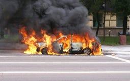 Het branden van auto Royalty-vrije Stock Foto's