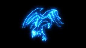 Het branden van Blauw Neon Eagle Logo Graphic Element
