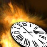 Het branden van de tijd in brandconcepten Stock Afbeeldingen