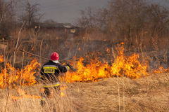 Het branden van gras. Brand. stock fotografie