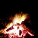 Het Branden van het kampvuur bij Nacht Stock Afbeelding