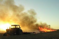 Het branden van het stoppelveld Royalty-vrije Stock Foto's