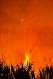 Het branden van het suikerriet Royalty-vrije Stock Foto's