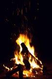 Het branden van het vuur bij de nacht Stock Afbeelding