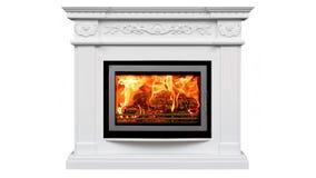 Het branden van klassieke open haard van wit marmer Geïsoleerd op wit royalty-vrije stock afbeelding