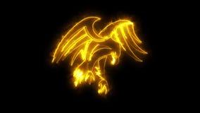 Het branden van Oranje Neon Eagle Logo Motion Graphic Element