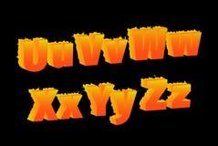 Het branden van U, V, W, X, Y, Z, brieven Royalty-vrije Stock Fotografie