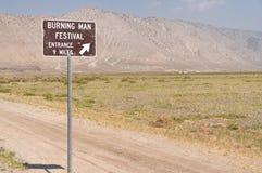 Het brandende teken van de Mensengebeurtenis in Gerlach, Nevada Stock Foto's