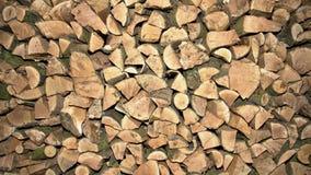 Het brandhout stapelde omhoog hoog, het UK op Royalty-vrije Stock Foto's