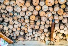 Het brandhout van de bijlbesnoeiing Stock Afbeelding