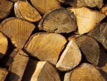 Het brandhout wordt voorbereid op de winter royalty-vrije stock fotografie