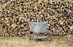 Het brandhoutreeks van het dorp Stock Fotografie