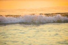 het brandingsoverzees blured golf bij de gouden lichte achtergrond DE van het zonsondergangstrand Stock Afbeelding