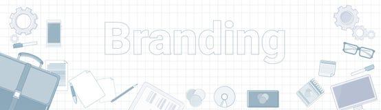 Het brandmerken Word met de Pictogrammen van het Bureaumateriaal op Geregeld Achtergrondverwezenlijking en van de Productenlijn O Royalty-vrije Stock Afbeelding
