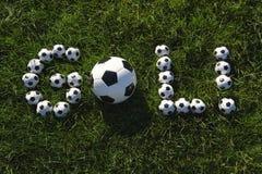 Het Braziliaanse Bericht van het Voetbaldoel dat met Voetballen wordt gemaakt Stock Foto